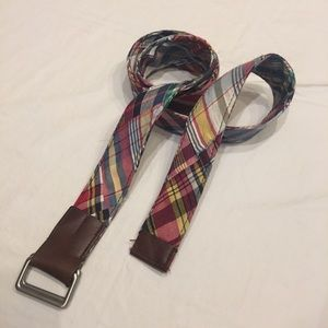 Brooks Brothers Madras Plaid D-Ring Belt